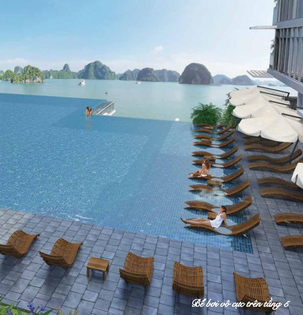 Bể bơi vô cực hướng viển Hạ Long của chung cư Mon Bay