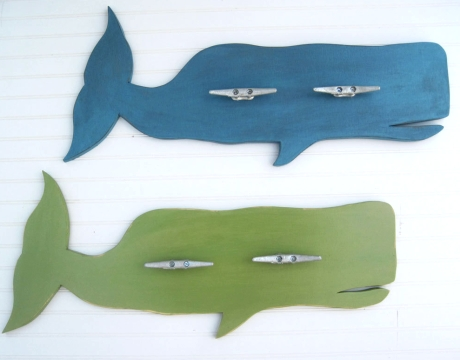 wooden whales wall rack