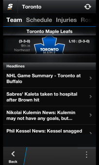 theScore v2.3.0 for BlackBerry 10