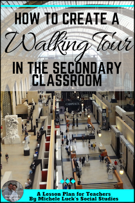 A how-to for creating a Walking Tour or Gallery Walk for the middle or high school Social Studies classroom. Great ideas for collaborative activities, addressing questions, and teaching vocabulary.
