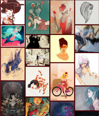 Collage of artwork featuring only female subjects