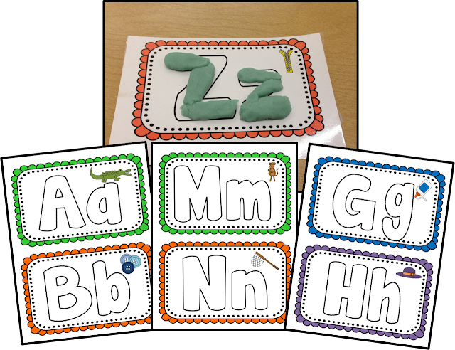 Learning the alphabet is fun with these alphabet play doh mats.  Students can associate the letters sounds with pictures on the cards in this hands on multi-sensory activity.