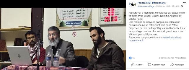 """Meeting politique dans une mosquée du parti """"Français ET Musulmans"""""""