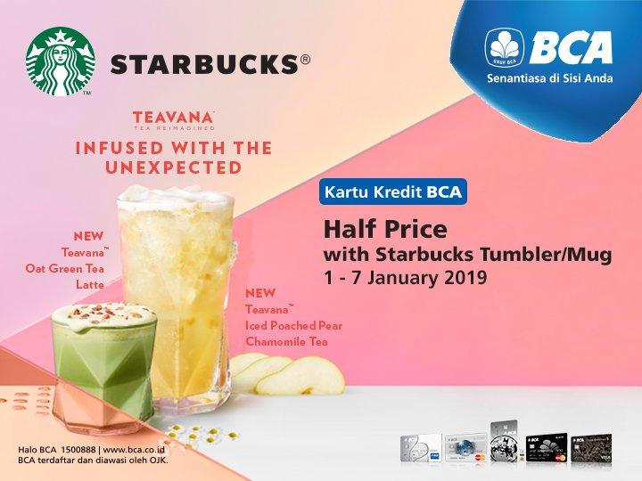 #BankBCA - Promo Half Price di Starbuck Pakai Kartu Kredit BCA (s.d 07 Jan 2019)