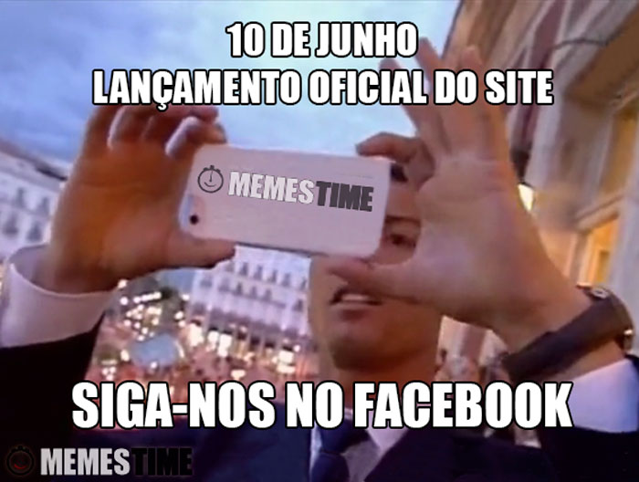 Meme Post Inaugural do Site com a imagem do Cristiano Ronaldo – 10 de Junho Lançamento oficial do site – Siga-nos no Facebook