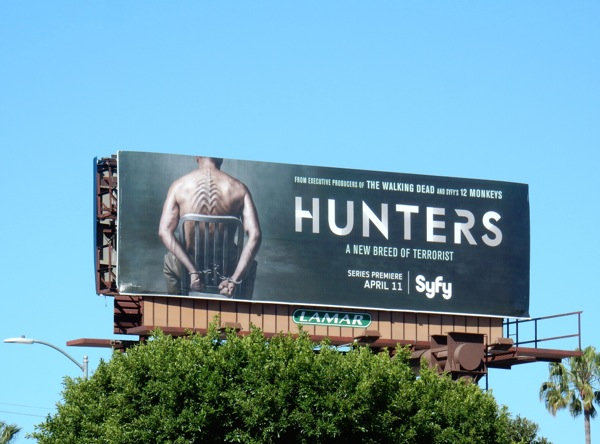 Hunters series premiere billboard