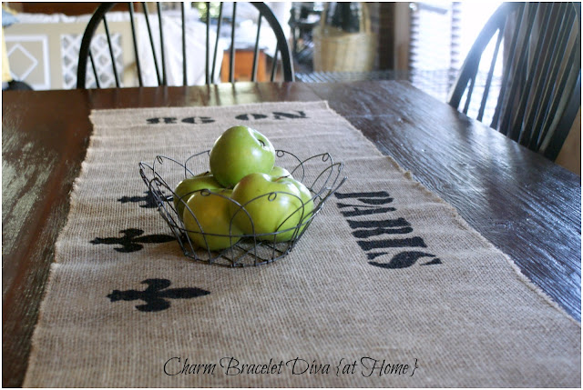 farmhouse wire basket fruit farmhouse table stencilled burlap table runner