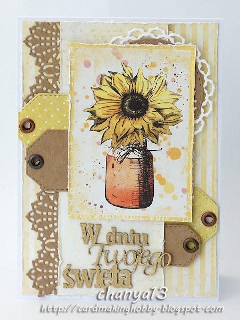 kartka ze słonecznikiem i napisem z beerrmaty