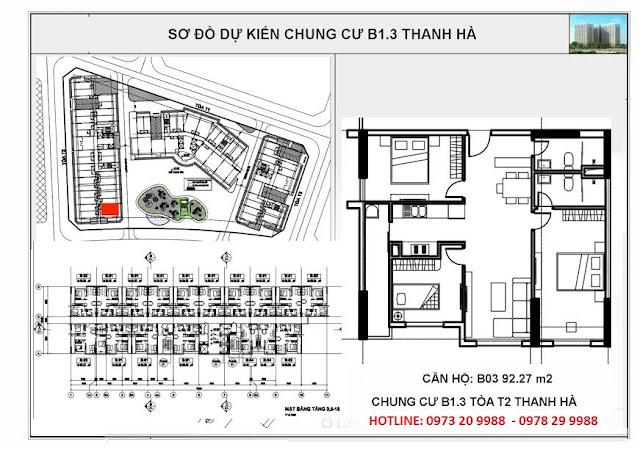 Sơ đồ mặt bằng chi tiết căn hộ B03 tòa T2 chung cư b1.3 Thanh Hà