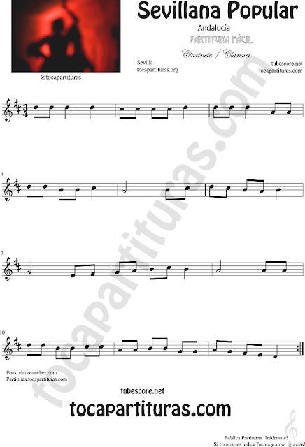 Sevillana Popular Partitura de Clarinete Sheet Music for Clarinet Music Score