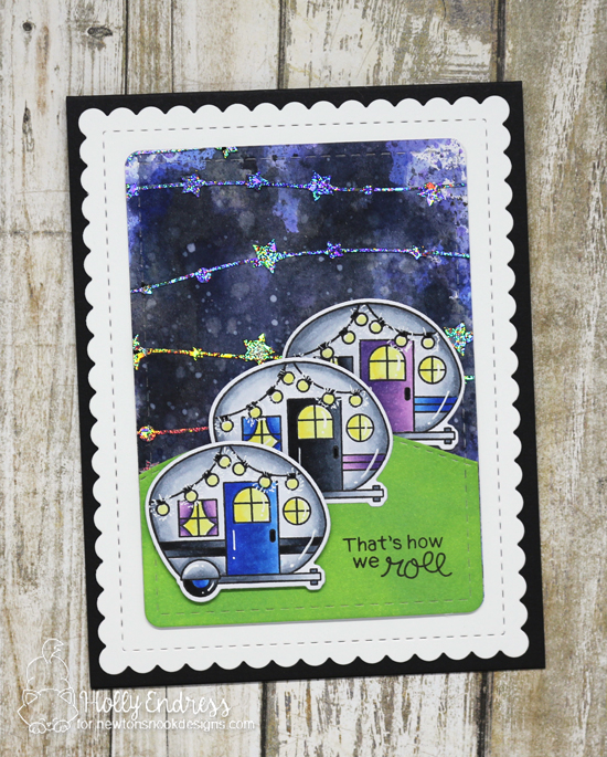 Newton's Nook Designs & Therm O Web Inspiration Week | Starry Night camping Card by Holly Endress | Cozy Campers Stamp Set by Newton's Nook Designs and foils by Therm O Web #newtonsnook #thermoweb