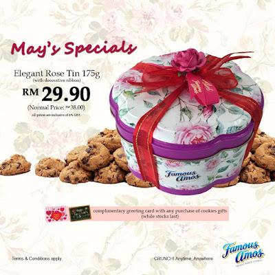 Famous Amos Malaysia Elegant Rose Tin 175g Cookies Gift