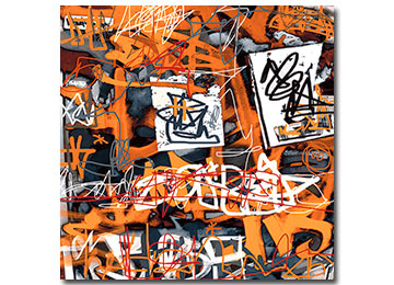 graffiti, urban, wall art, contemporary, large art, artwork, urban art, orange art, Sam Freek,