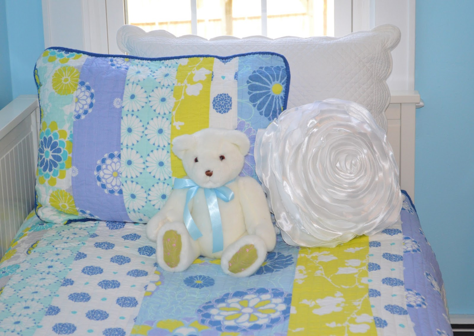 Blue GIrl's Bedroom With teddy bear on bed