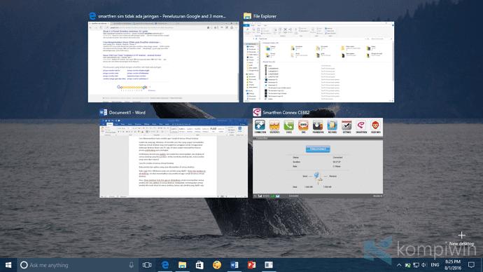 pin semua window di semua desktop