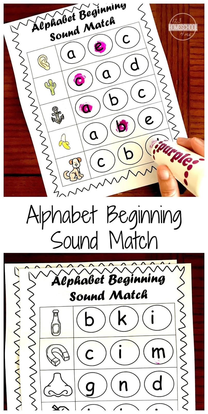 FREE Beginning Sounds Worksheets