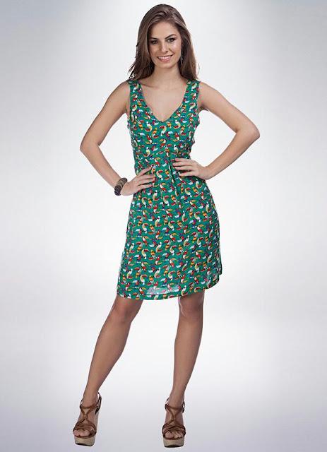 Moda Vestido Estampado Verde Mercatto