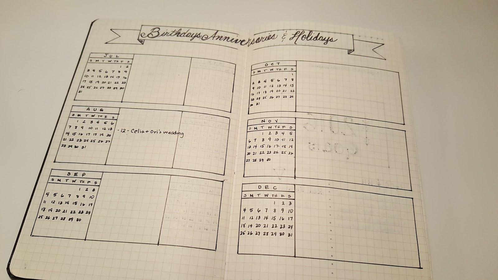 Bullet Journal Year Calendar : Helmighaus my bullet journal life organized