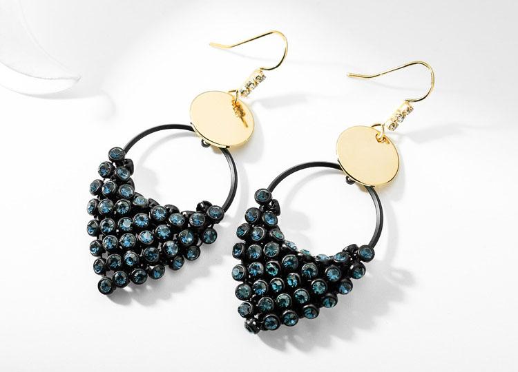 時尚魅力藍水晶垂墜耳環