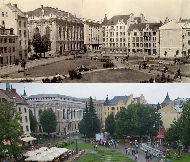 Рига. Площадь Ливу в 1947-м и 2010-м годах