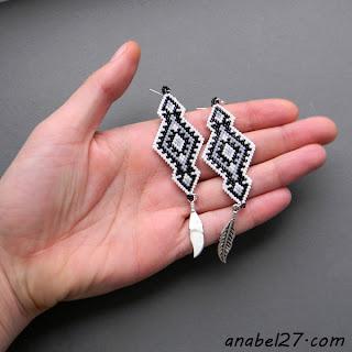 купить этно серьги  индейские украина украшения из бисера с орнаментами