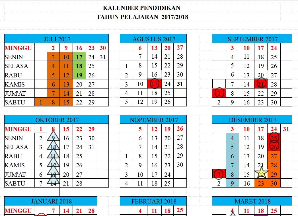 Kalender Pendidikan Mi Jawa Barat Kalender Pendidikan 2017 2018 Jawa Barat Format Excel Berkas