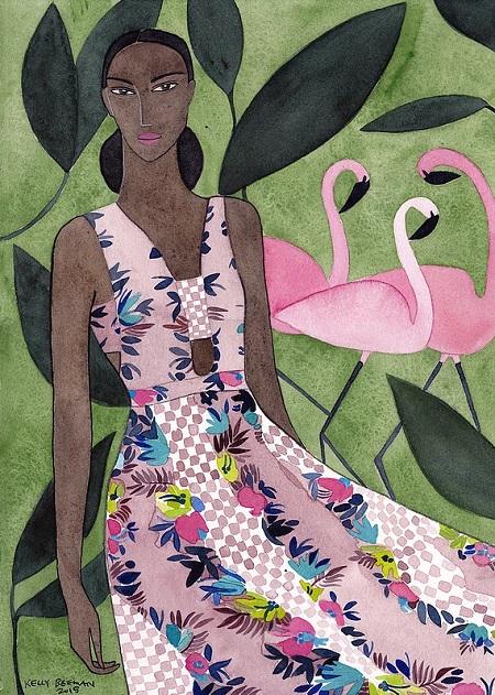Kelly Beeman arte | dibujo en acuarela de mujer en vestido floreado