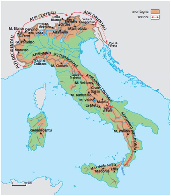 Cartina Fisica Italia Monti.Ripasso Facile Ricerca Sulle Catene Montuose Italiane