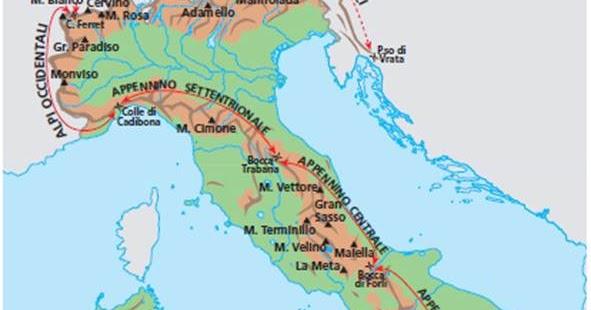 Cartina Dellitalia Alpi E Appennini.Ripasso Facile Ricerca Sulle Catene Montuose Italiane