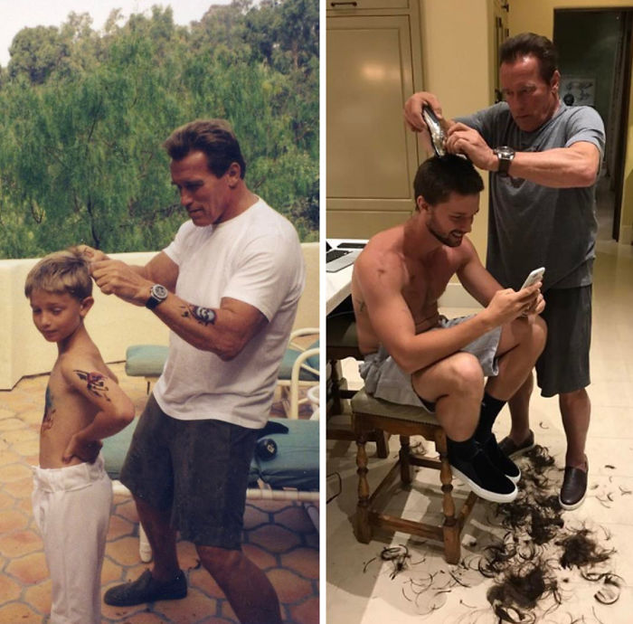 30 Beautiful Recreations Of Childhood Pictures - Arnold & Patrick Schwarzenegger: Some Things Never Change