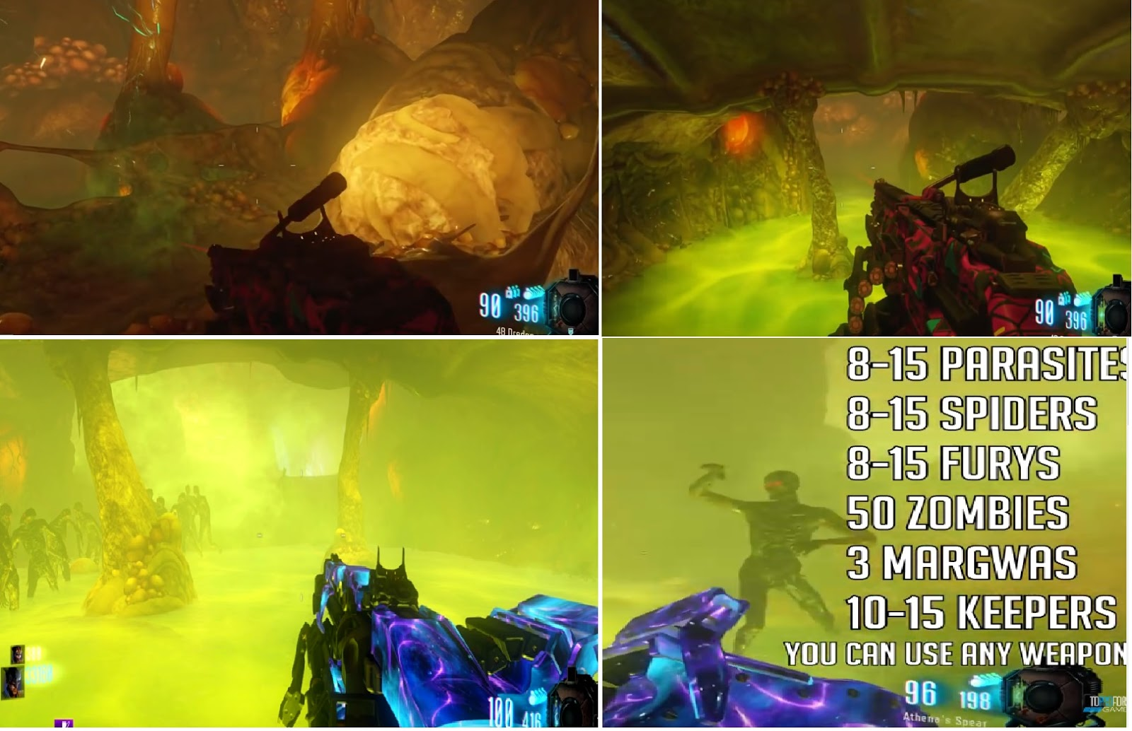 The images show when the smoke is active and when to start killing things as well as a list of the amount of each enemy you need to kill from ...