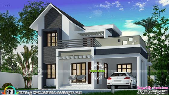 Cute 1630 square feet mixed roof home design