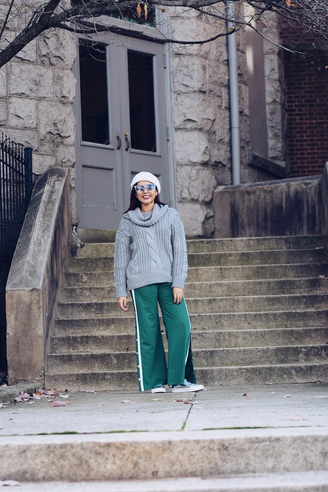 Sporty Chic For Thanksgiving -los chuchis-mariestilotravels-sporty pants-hoodie bi color-moda el salvador-dcblogger-fashionblogger-streetstyle-acción de gracias-visit richmond-virginia is for lovers-visit virginia-los chuchis-cable sweater