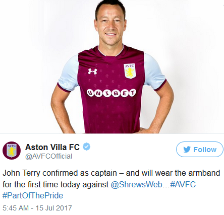 John Terry Named Aston Villa Captain For 2017/18 Season
