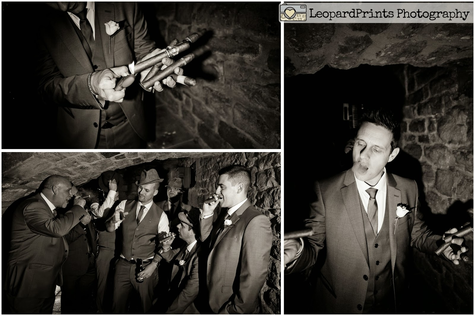 cool wedding shots of the groomsmen with cigars and hats