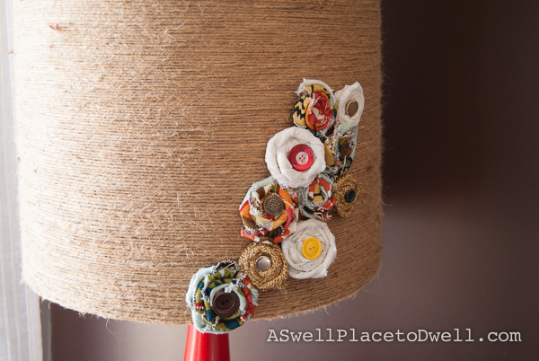 fabric rosette lampshade.  Jute twine shade. Thrift store makeover