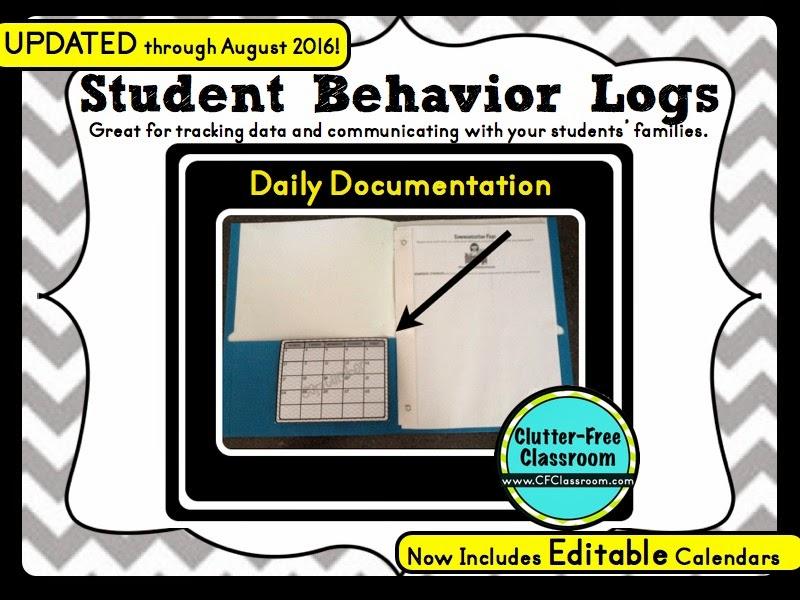 BEHAVIOR CALENDARS {Teacher Tip #22} Clutter-Free Classroom