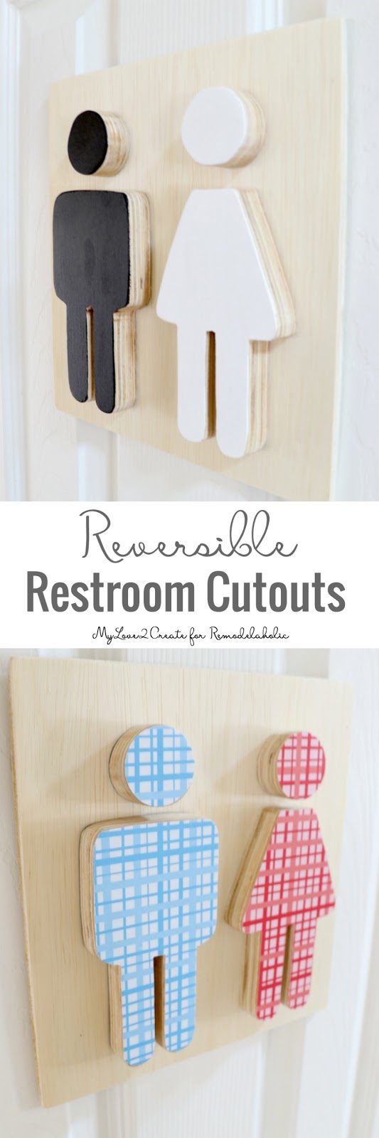Put your plywood scraps to work and help guests know which door is the restroom with these adorable and easy boy-girl restroom cutout signs.