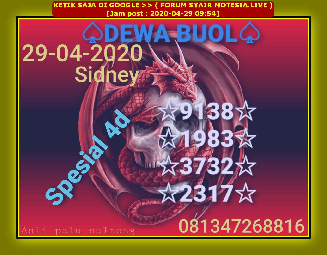 Kode syair Sydney Rabu 29 April 2020 35