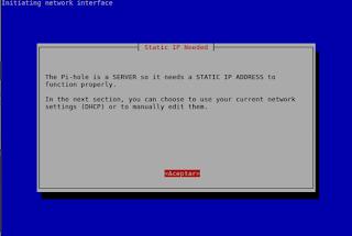 Dirección estática servidor Pi-Hole