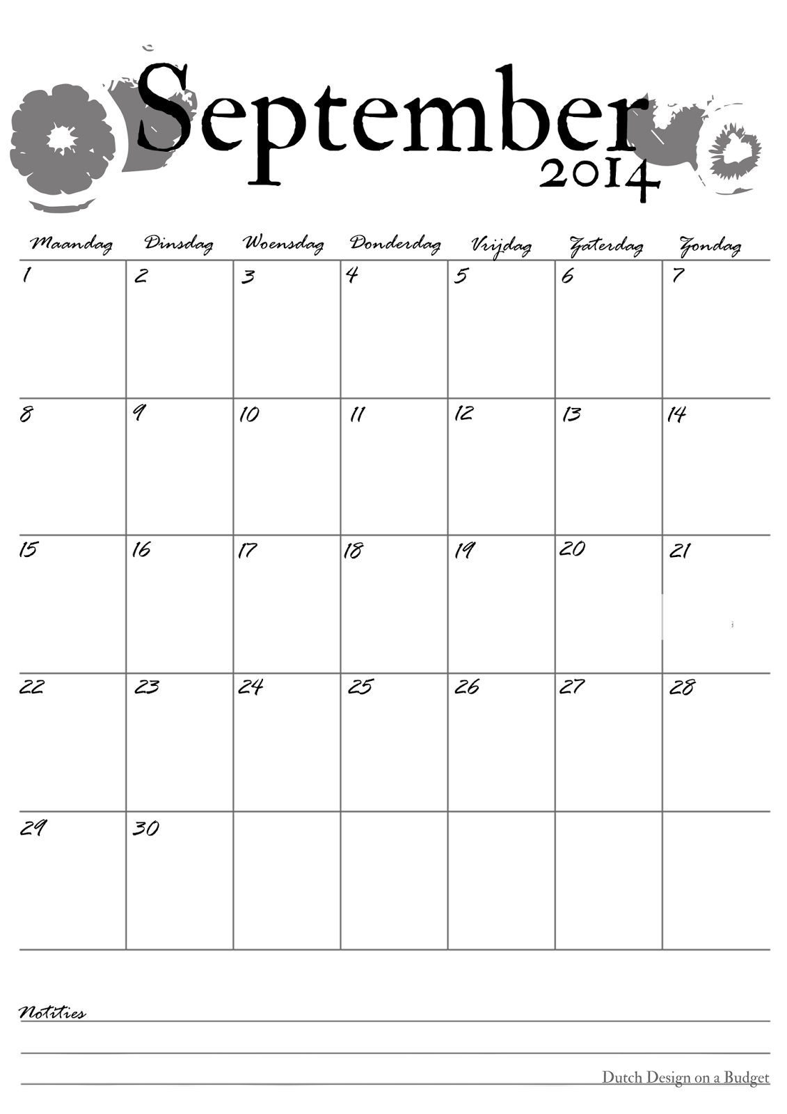 Dutch Design on a Budget: Kalender van September!
