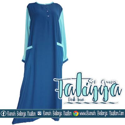 Gamis Fatiyya Wollycrepe Dark Tosca