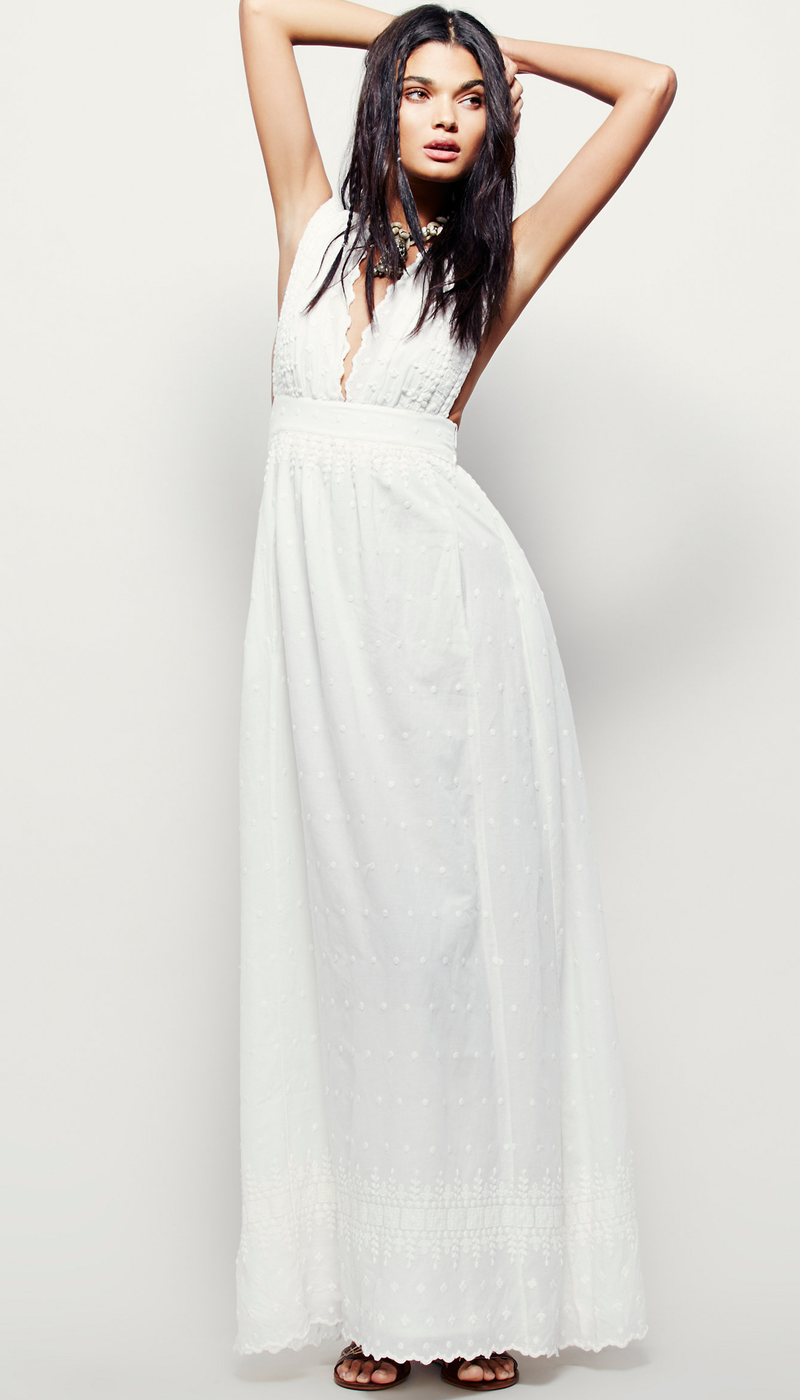 Free People Grassland Embroidered Maxi Dress