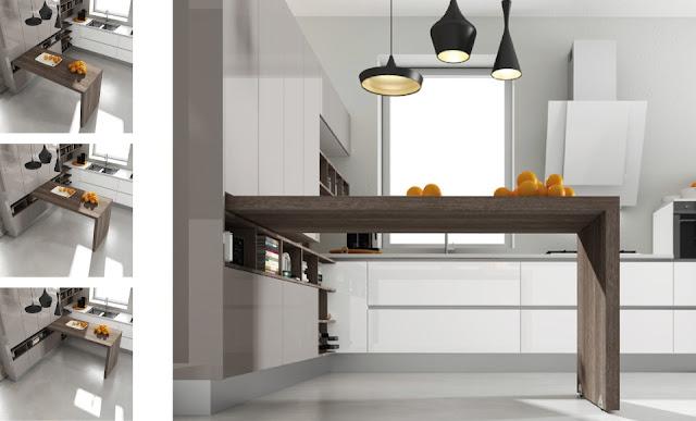 30 ideas de mesas y barras para comer en la cocina for Barras para cocinas pequenas modernas