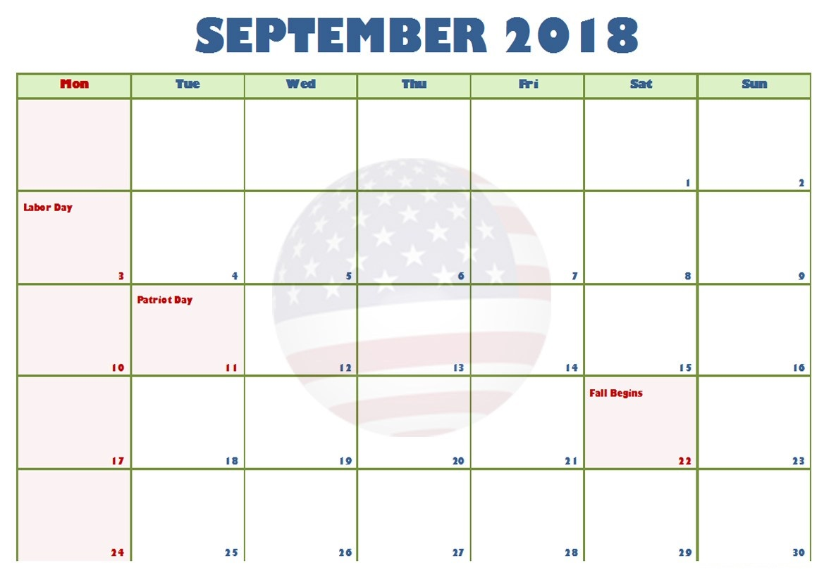 September 2018 Holiday Calendar USA