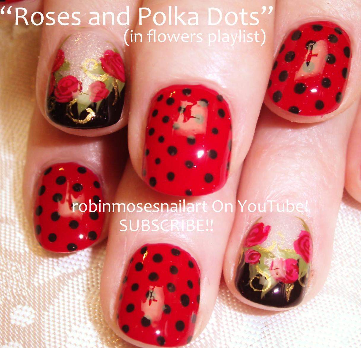 Nail Art By Robin Moses Rose Nails Nail Art Red And Black