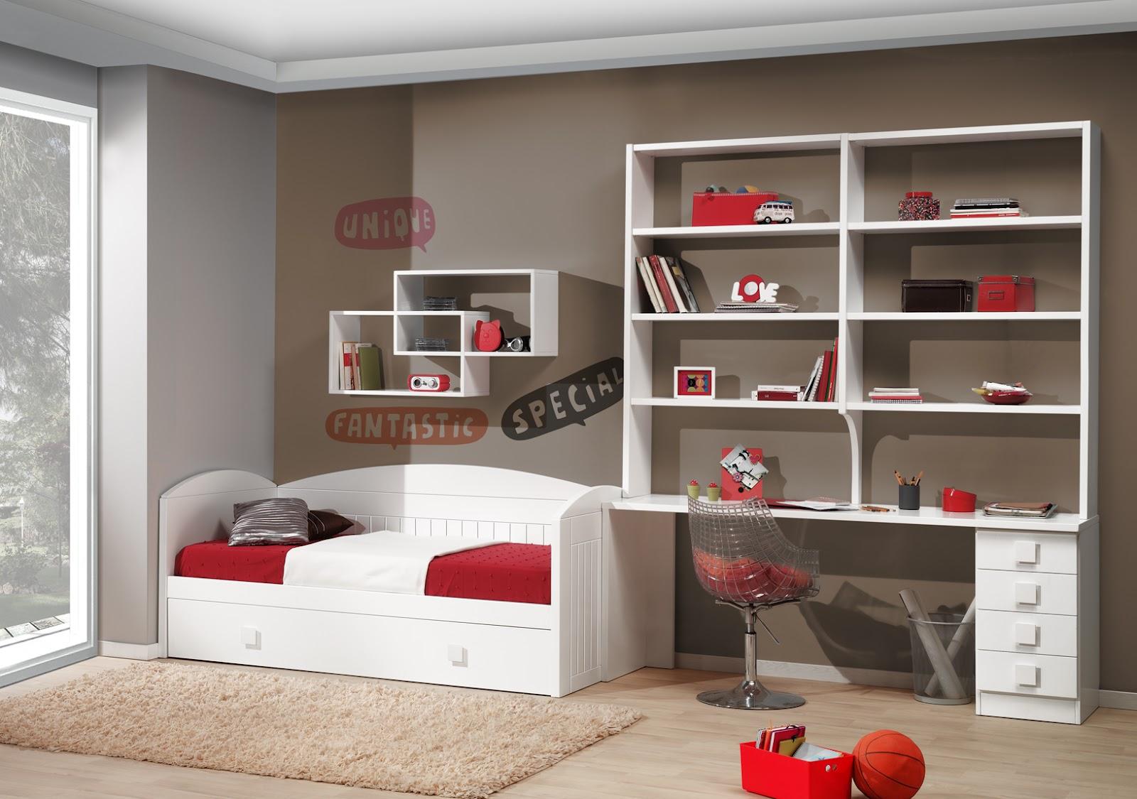 Dormitorio lacado blanco con cama nido - Estanterias para habitacion infantil ...