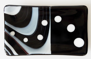 Black and white fused glass butter dish