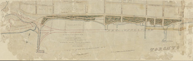 Map: by John Howard: Sketch of a design for laying out the North Shore of the Toronto Harbour in pleasure drives, walks and shrubbery for the recreation of the Citizens, July 5, 1852