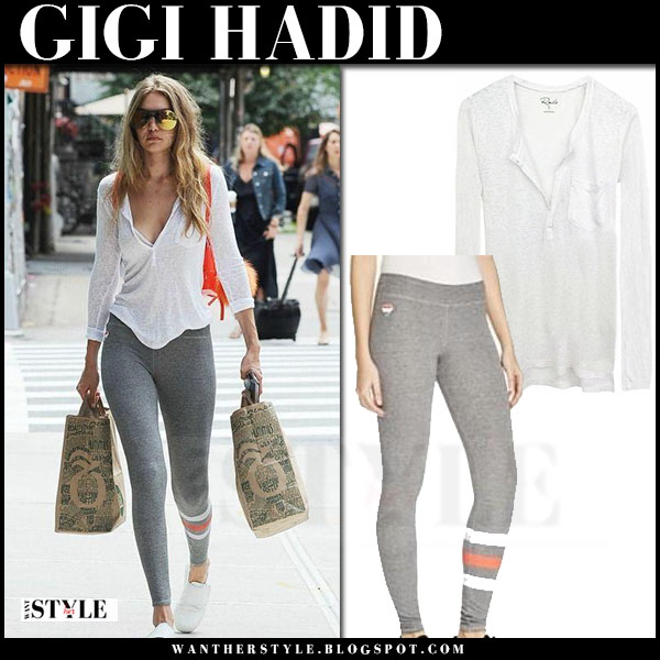 Gigi Hadid in white rails ethan top and grey leggings sundry what she wore models off duty